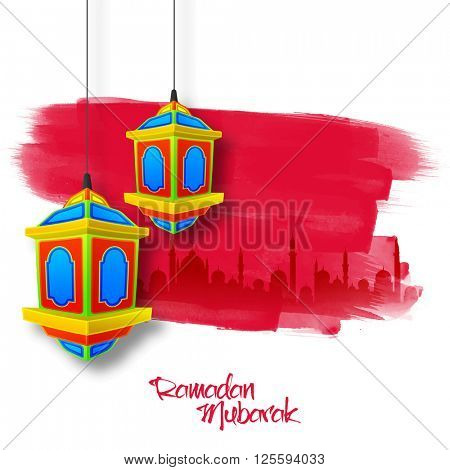 Colourful traditional lanterns on paint stroke, Mosque silhouetted background for Holy Month of Muslim Community celebration.