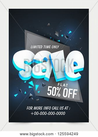 Sale Flyer, Sale Poster, Sale Banner, Flat 50% Discount Offer for limited time, Vector illustration.
