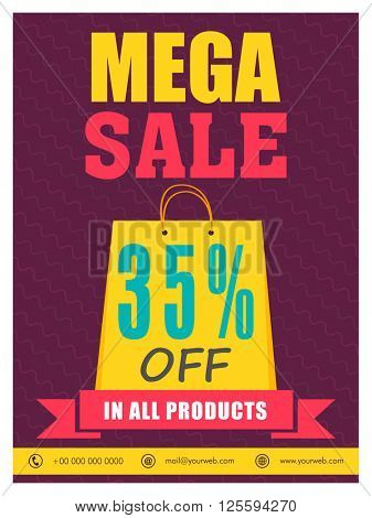 Mega Sale Flyer, Sale Banner, Sale Poster, 35% Discount Offer in all products, Vector illustration.