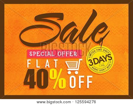 Special Offer Sale Poster, Sale Banner, Sale Flyer, Flat 40% Discount, Limited Time Sale Tag, Vector illustration.