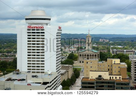 NASHVILLE,TN,USA - SEP 27: Tennessee State Capitol and Sheraton Nashville Downtown on Sep. 27, 2015 in Nashville, Tennessee, USA.