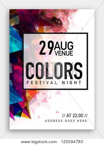 Festival Night Party Template, Dance Party Flyer, Musical Party Banner or Club Invitation with colorful abstract design.