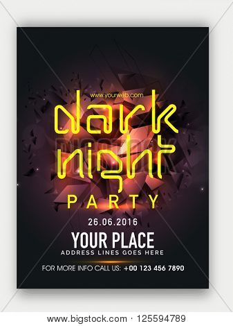 Dark Night Party Template, Dance Party Flyer, Musical Party Banner, Club Party Invitation with glossy abstract design.