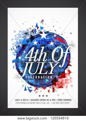 Creative abstract design decorated, Pamphlet, Banner or Flyer for 4th of July, American Independence Day celebration.