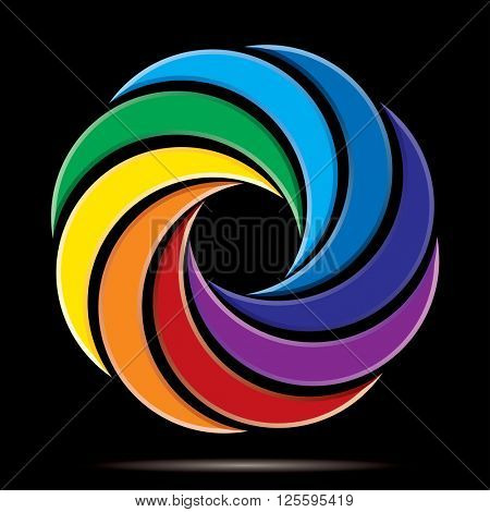 abstract vector sign like wreath in rainbow colors