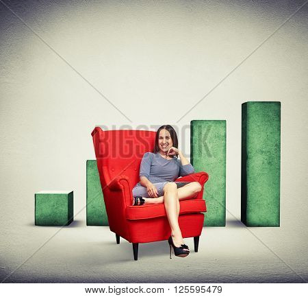 Beautiful smiling woman holding her hand near chin while sitting in soft red chair over rising chart background