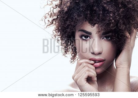 Portrait Of Young Girl With Afro.