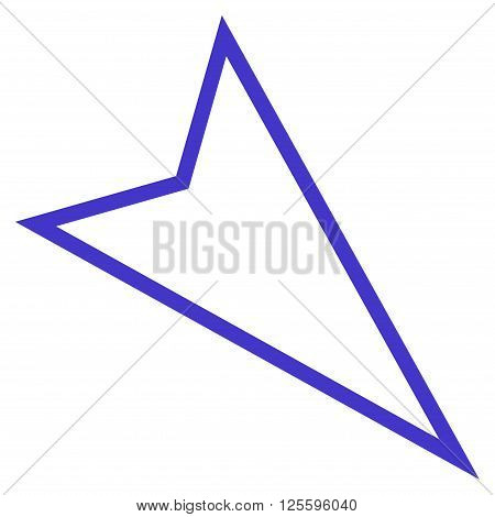 Pointer Right Down vector icon. Style is thin line icon symbol, violet color, white background.