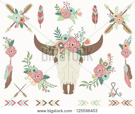 Floral Bull Skull Collections