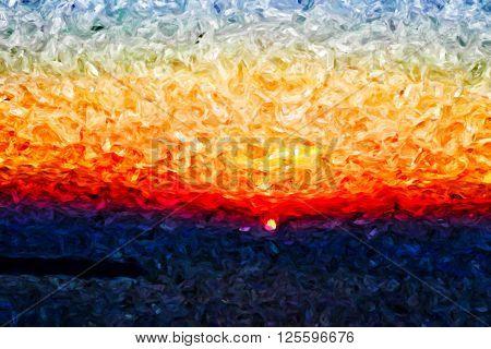 burning sunset oil painting seascape, sun over island brush painting impressionism
