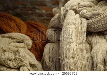 Hip of wool in a rug factory