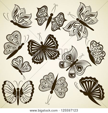 Butterfly shape design elements isolated on beige background.