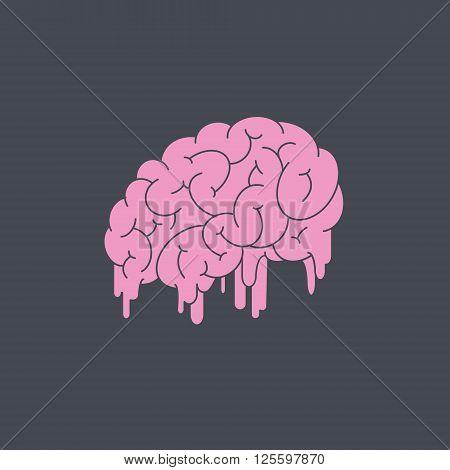 Melting brain on gray background. Vector illustration