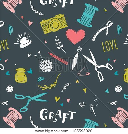 Handmade, crafts patterns and hand drawn background