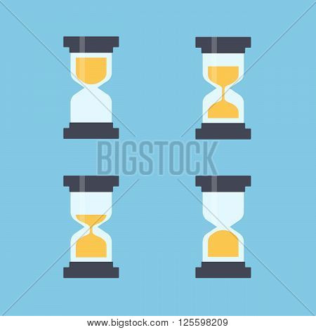Sandglass flat icons vector. Sandglass animation frames. Time hourglass