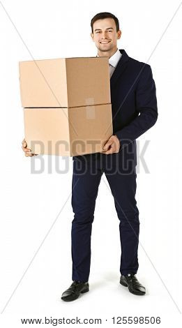 Man in suit holding carton boxes isolated on white background
