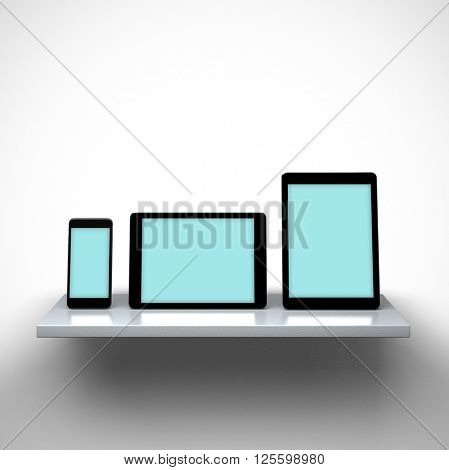 3D rendering - Responsive mockup of digital tablets and a smart phone on a shelf. Clipping paths included.