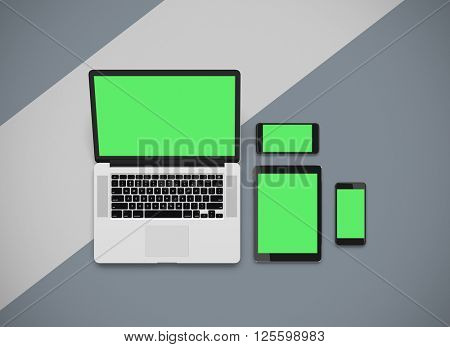 3D rendering - Responsive mockup of a laptop, digital tablet and smart phone. Clipping paths for displays included.
