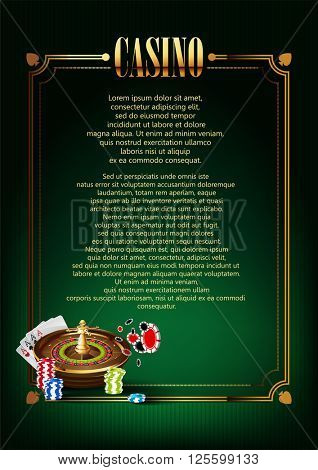 Casino Logo Poster Banner Background or Flyer with Roulette Wheel.