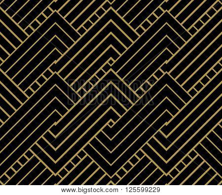 Geometric Gold shapes Background. Striped gold on black geometric pattern. Vector illustration.