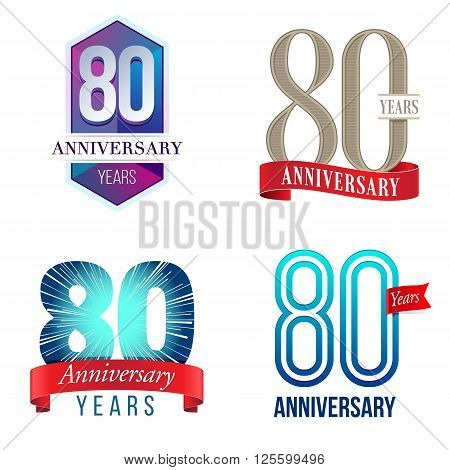 A Set of Symbols Representing an 80 Years Anniversary/Jubilee Celebration