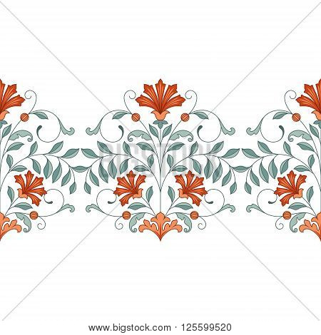 Seamless border with oriental pattern. 10 eps.