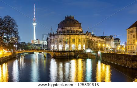 Bodemuseum and Museumsinsel in Berlin by night