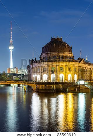 Bodemuseum and TV Tower in Berlin, Germany, by night