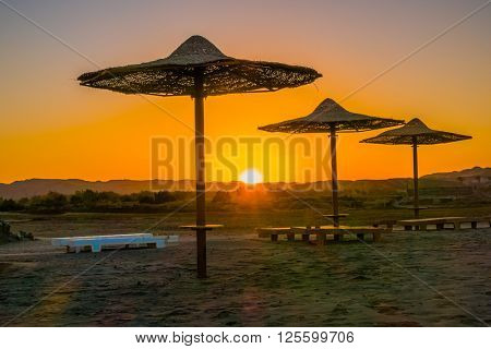 Sunset at beach in resort in Marsa Alam, Egypt