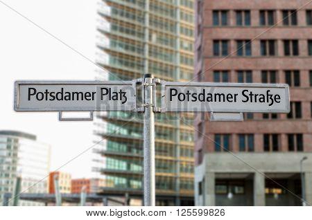 Street signs on Potsdamer Platz in Berlin, Germany