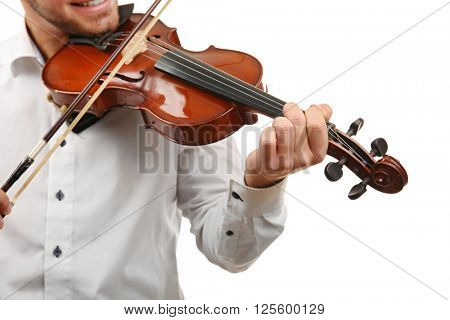 Musician plays violin isolated on white background, close up