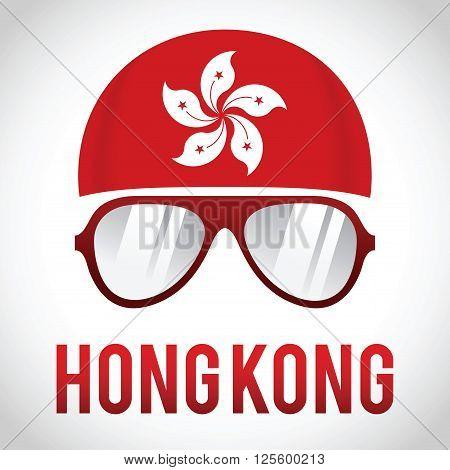 Head band and sunglasses with Hong Kong insignia vector illustration