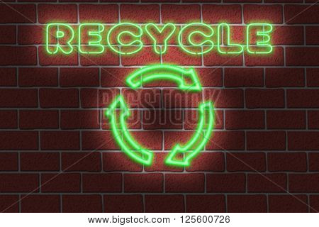 3D Illustration of a neon RECYCLE sign against a dark brick wall