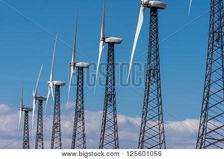Rows Of Wind Turbines Capture Wind For Energy
