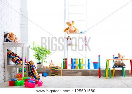 Vivid kids room with toys