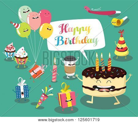 Funny birthday set. Birthday cake, balloons, gifts, candles. Comic characters. Vector illustrations
