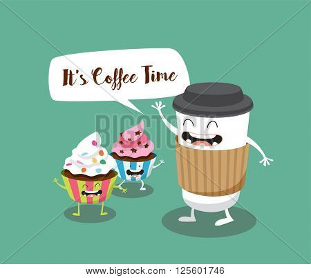 Coffee and Cupcakes illustration. It's Coffee Time. Vector cartoon. Comic characters.