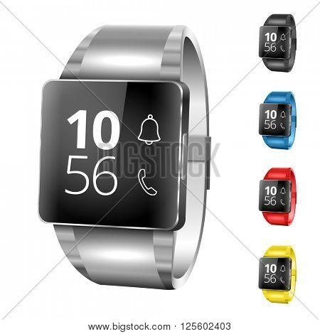 Set of realistic smart watches. Vector illustration