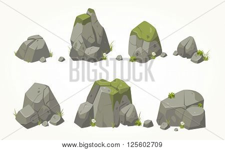 Collection of vector stone illustrations drawn in the same style
