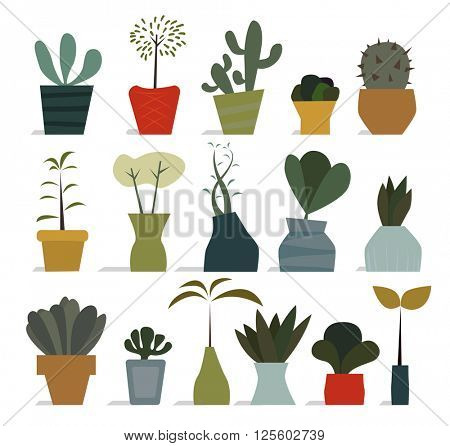 Various flat styled house plant icons in pots