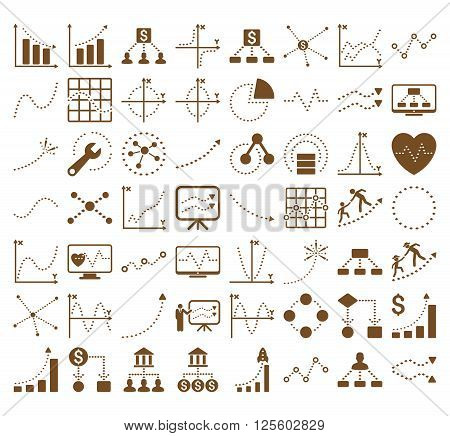Business Charts With Rhombus Dots vector icons. Style is brown flat symbols on a white background. 56 icons in the set.