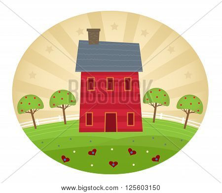 Americana art style house with decorative hills, apple trees and stylized background. Eps10