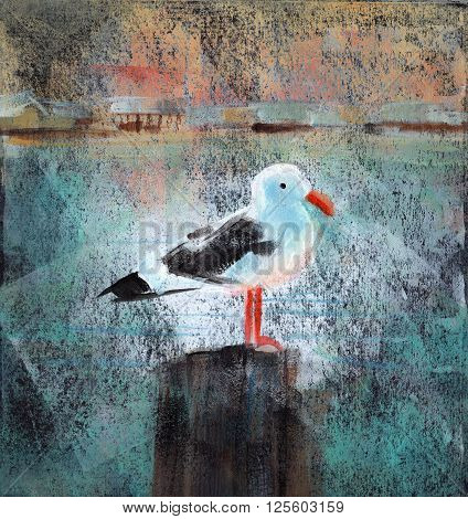 Acrylic painting of a seagull standing on a wooden dock post.