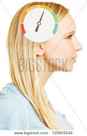 Woman with speedometer on brain as symbol for intelligence