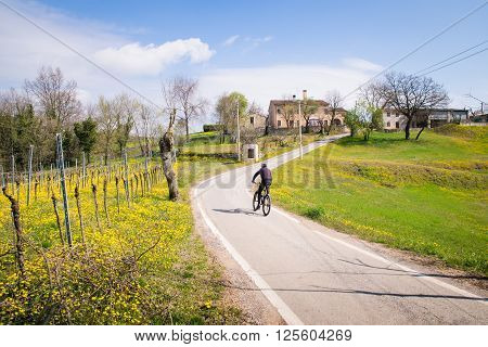 Roads between the Italian hills are ideal routes for cyclists.