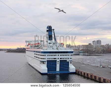St. Petersburg, Russia - on April 3, 2016: cruise ship in St. Petersburg  port, Russia