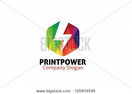 Print Power Creative And Symbolic Logo Design Illustration