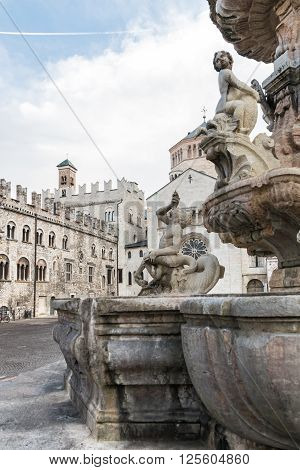 Detail of the Neptune fountain in Cathedral Square Trento Italy