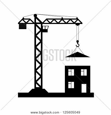 Black tower crane on white quadrate background with house down roof - Vector icon isolated