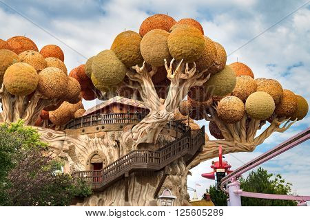 Castelnuovo del Garda Italy - September 8 2015: Gardaland Theme Park in Castelnuovo Del Garda Italy on Tuesday September 8 2015. Three million people visit the park on a yearly basis.